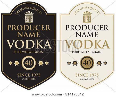 Set Of Two Vector Labels For Vodka In The Figured Frame With Old Building And Inscriptions In Retro