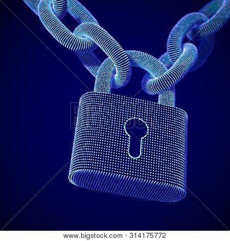 The Concept Of Digital Security And Data Protection: A Closed Lock On The Chain On Dark Background.