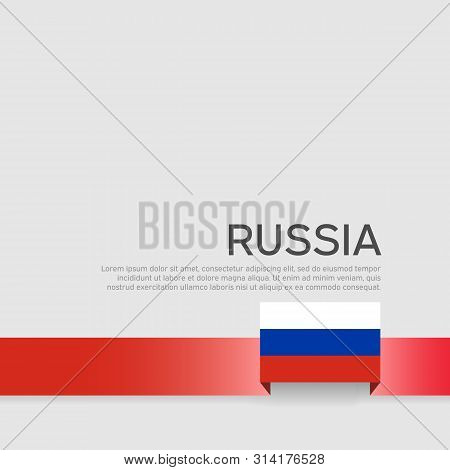 Russia Flag Background. Ribbon In The Color Of The Russian Flag On A White Background. National Post