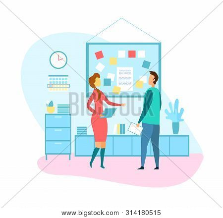 Female Project Manager Talking To Male Programmer. Cartoon Flat Business People Standing Notes And B