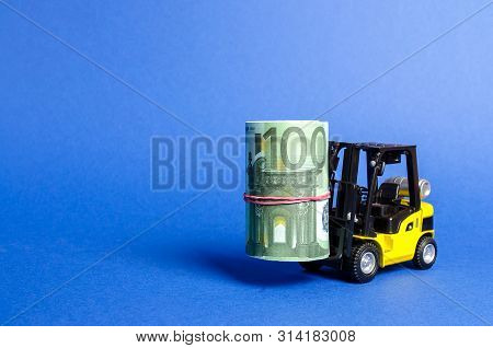 Forklift Truck Carries A Bundle Of Euro. Attracting Direct Investment In Business And Production, Im
