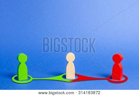 Red And Green People Want To Recruit Person In The Center To His Side. Pressure, Influence On Person