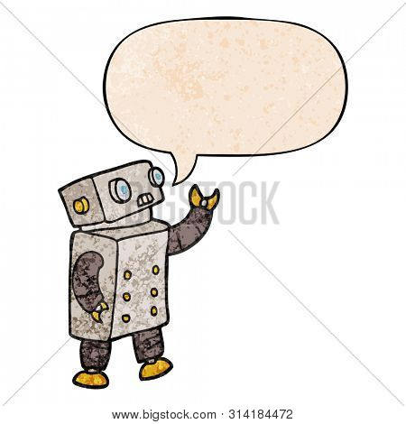 cartoon robot with speech bubble in retro texture style