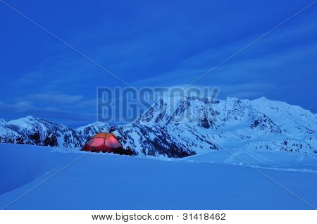 Snow Camping at Huntoon Point, Mt. Baker-Snoqualmie National Forest poster