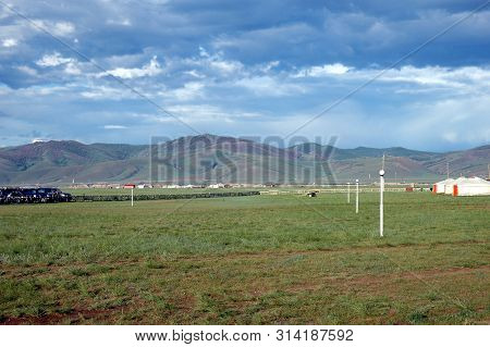 Karakorum, Mongolia - June 29, 2006: The Urguu Ger Camp In Mongolias Gobi Desert.