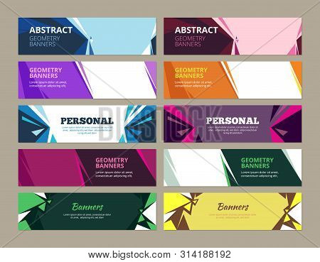 Abstract Banners. Geometric Effects Graphic Templates Vector Forms For Horizontal Web Colored Banner