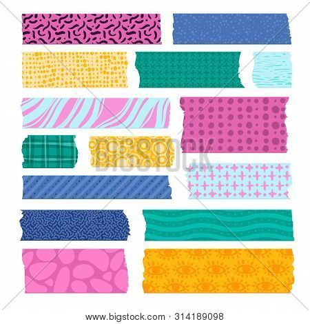 Scrapbook Tape. Color Patterned Borders, Decoration Adhesive Tapes. Paper Scotch Strips, Colorful Fa