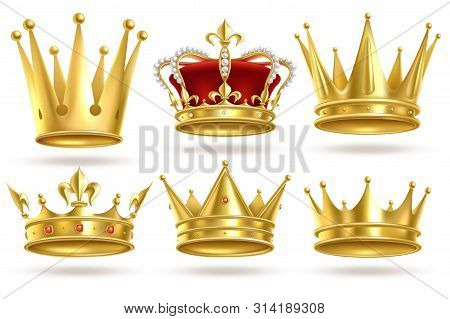 Realistic Golden Crowns. King, Prince And Queen Gold Crown And Diadem Royal Heraldic Decoration. Mon