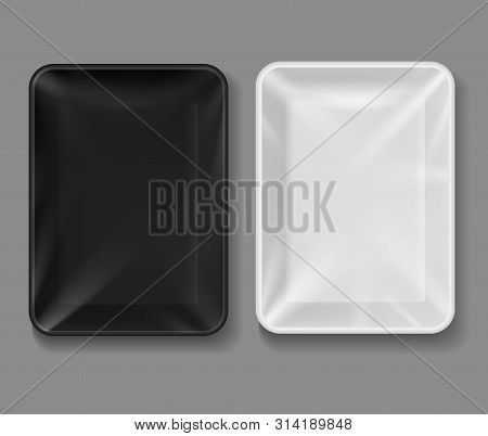 Plastic Tray. Food Package With Transparent Wrap, Black And White Empty Containers For Vegetables, M