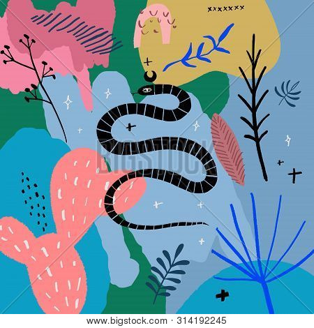 Handdrawn Snake. Isolated Tropical Reptile Modern Abstract Art. Vector