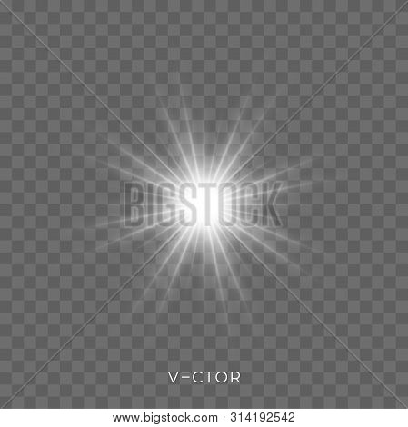 Star Light Shine, Glitter Glow Flash Sparks On Transparent Background. Vector Bright Sparkles And St