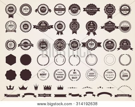 Vintage Badges. Emblem Premium Luxury Logo In Retro Style Arrows Frames Vector Template Badges Colle