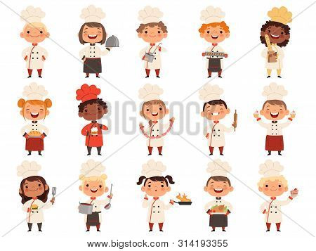 Cooking Childrens. Little Funny Laugh Kids Making Food Profession Chef Vector Boys And Girls. Girl A