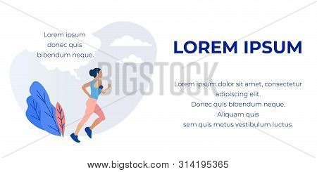 Sporty Girl Running, Jogging, Training Exercising Outdoors. Place For Promotion Text. Healthy Lifest