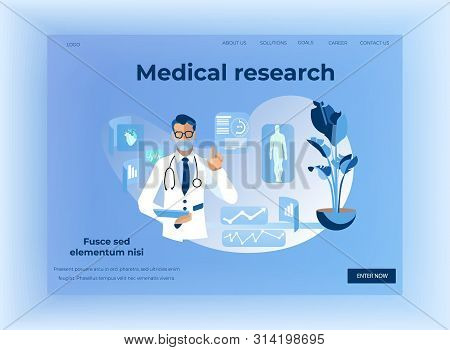 Human Health Medical Research Design Landing Page. Application For Data Systematization And Analysis