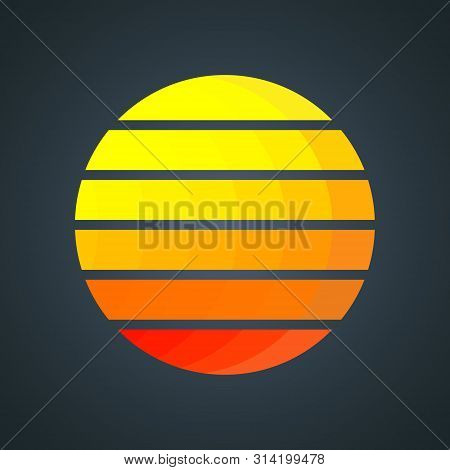 Retro Sun With Colorful Gradient Stripes. Vintage 1980s Background Design