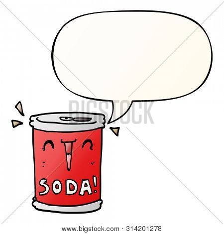 cartoon soda can with speech bubble in smooth gradient style