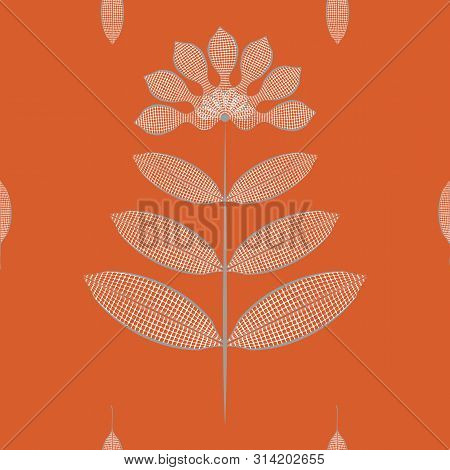 Modern Stylised Flowers And Leaves With White Waffle Texture. Seamless Vector Pattern On Rich Orange