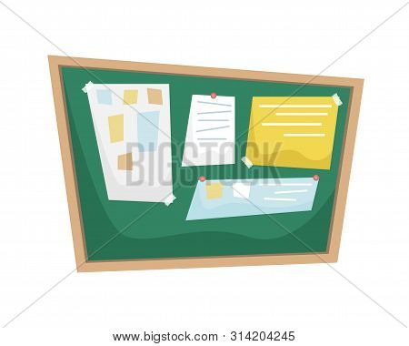 Chalk Bulletin Board With Papers Attached To The Tape. Flat Vector Illustration In Cartoon Style.
