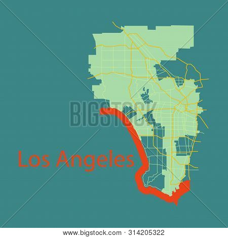 Los Angeles Map. Flat Style Design Continent, Geography, Graphic,