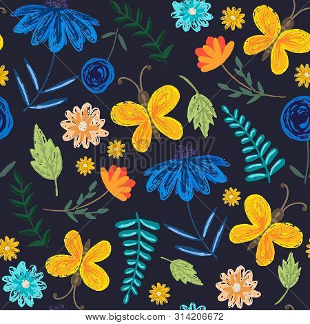 Cute Dark Sketchy Seamless Pattern With Childish Blue Flowers And Orange Butterflies. Colorful Flora