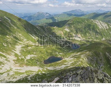 Beautiful Vivid Blue Mountain Lakes Horne And Dolne Jamnicke Pleso With Green Mountain Peaks View Fr