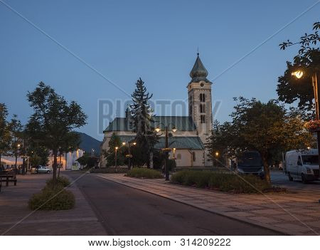 Liptovsky Mikulas, Liptov, Slovakia, July 4, 2019: View To The Main Square With Park And Buildings I