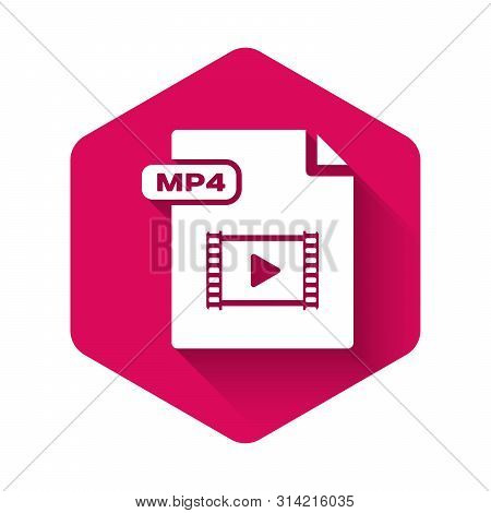 White Mp4 File Document. Download Mp4 Button Icon Isolated With Long Shadow. Mp4 File Symbol. Pink H