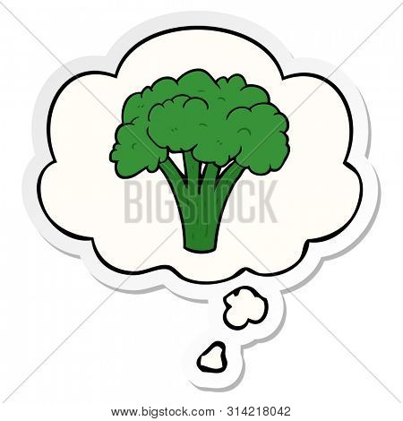cartoon brocoli with thought bubble as a printed sticker