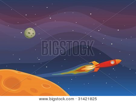 Illustration of a rocket spaceship flying through outer space among planets and stars poster