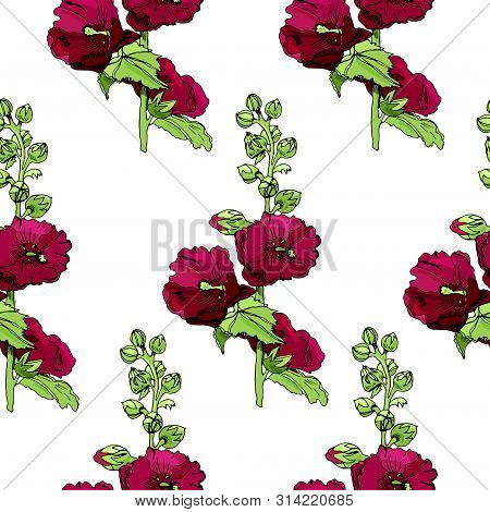 Seamless Pattern With Blossoming Bouquets  Of Maroon  Mallow Flowers And Green Leaves. Hand Drawn In
