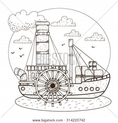 Steamboat. Vintage Water Transport. Design Gaming Applications, Game Background, Theatrical Scenery.