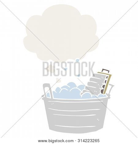 cartoon old washboard and bucket with thought bubble in retro style
