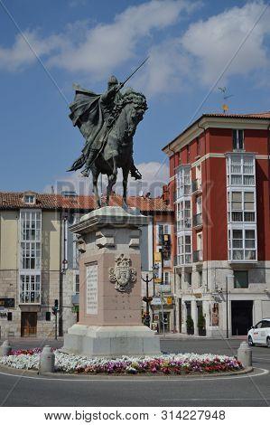 Bronze Figure Of The Cid Campeador In The Plaza Del Cid In Burgos. August 28, 2013. Burgos, Castilla