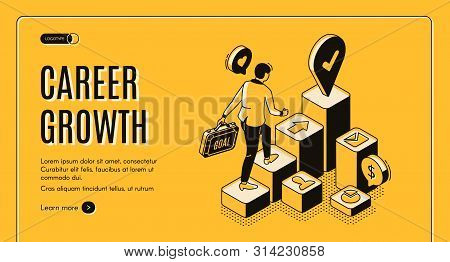 Career Growth Isometric Landing Page, Businessman With Briefcase In Hand Going Upstairs By Column Ch