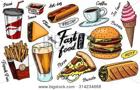 Fast Food, Burger And Hamburger, Tacos And Hot Dog, Burrito And Beer, Drink And Ice Cream. Vintage S