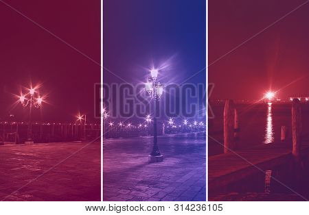 Colorful Photo Collage Of Venice By Night