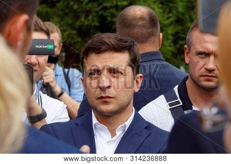 President Of Ukraine Volodymyr Zelenskyy (С) Speaks With Journalists During A Working Visit In Uzhgo