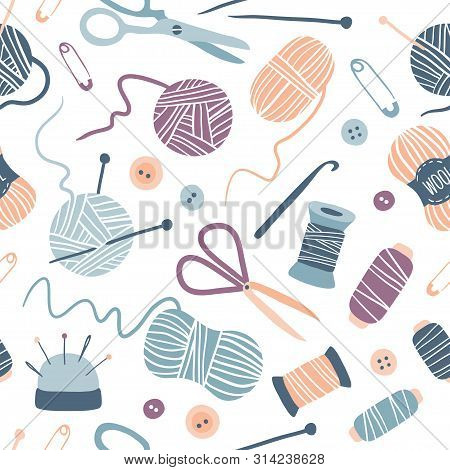 Handmade Kit Seamless Pattern: Sewing, Needlework, Knitting: Scissors, Thread, Needles, Yarn Balls.