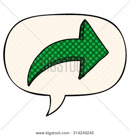 cartoon pointing arrow with speech bubble in comic book style