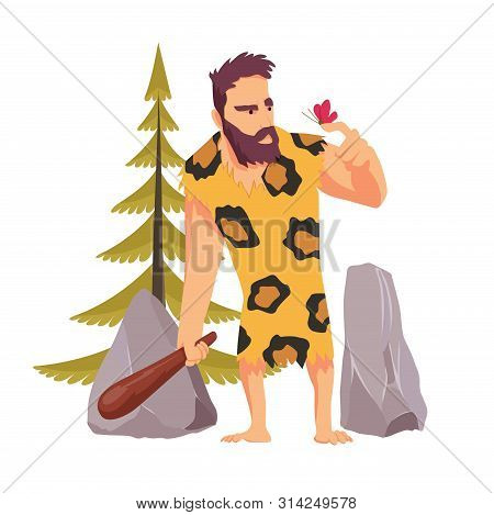 Caveman With A Wooden Club Looking At The Butterfly Dressed In Leopard Skin Against The Background O