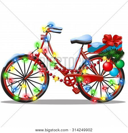 Vintage Bicycle Decorated In Christmas And New Year Style Isolated On White Background. Sample Of Po