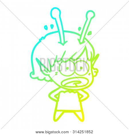 cold gradient line drawing of a cartoon shocked alien girl