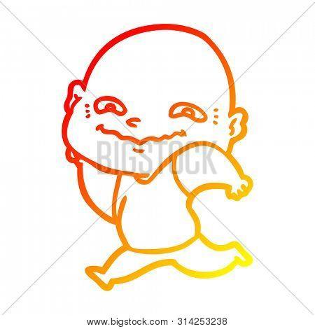 warm gradient line drawing of a cartoon creepy guy