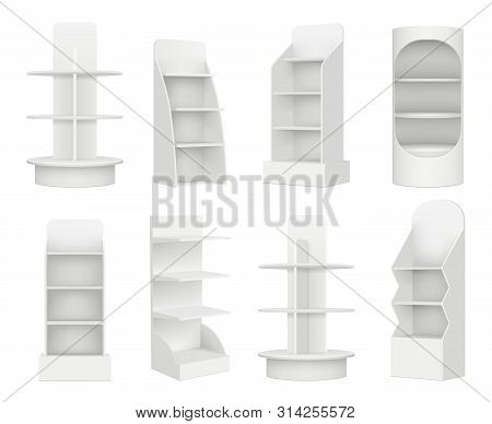Empty Retail Shelves. Bookstore Supermarket Stand For Promotion Merchandising Marketing Vector Reali