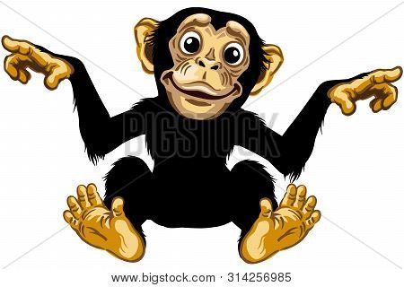 Cartoon Chimp Ape Or Chimpanzee Monkey Smiling Cheerful With A Big Smile On Face. Positive And Happy