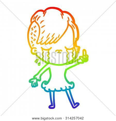 rainbow gradient line drawing of a cartoon crying girl