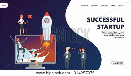 Startup Landing Page. Vector Successful Business Team Web Banner. Illustration Of Launch Rocket, Sta