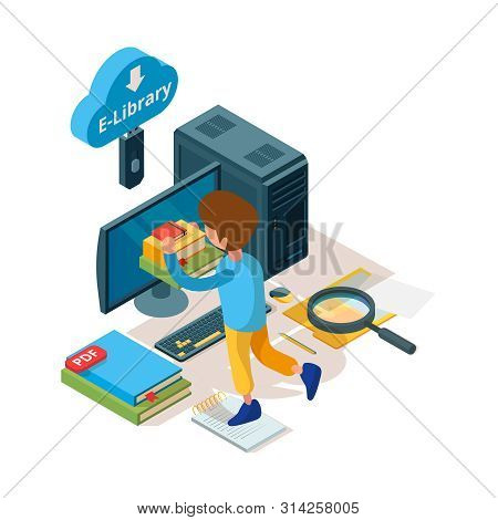 Library Isometric. Online Education Book And Readers Digital Archiving University College Students L