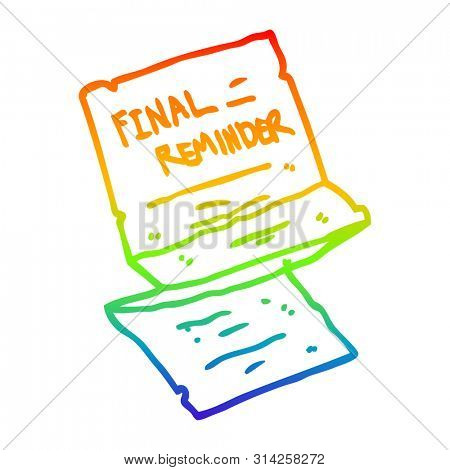 rainbow gradient line drawing of a cartoon final reminder letter